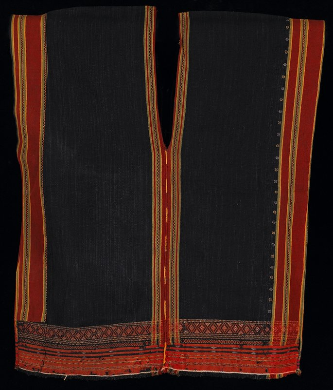 sleeveless, with V-neck in front and back; blue body with stripes at sides and center in rust, yellow and green; geometric designs at hem