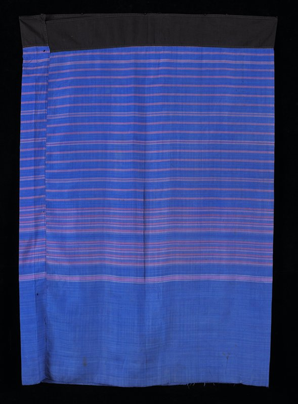 tube skirt type; black waistband; blue body with pink and white stripes