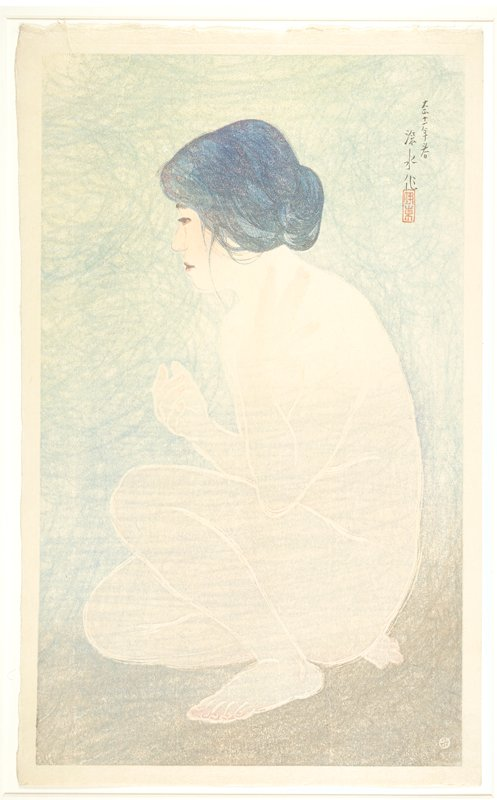 profile view of nude woman crouching on ground; blue/green background