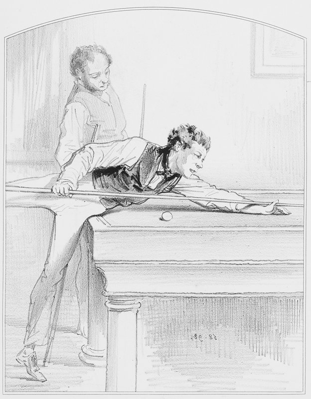two men at a billiard table; man in foreground extends PR leg to reach far across table with his shot; both men wear vests