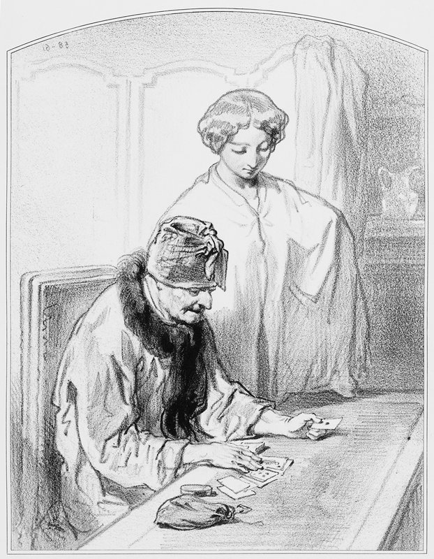 elderly figure wearing a cap, seated at a table, playing solitaire; young woman in a white cape looks over card player's shoulder