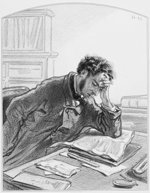 man wearing an overcoat and bow tie, seated at a desk, with PL elbow on desk and PL hand on forehead; man reads a newspaper