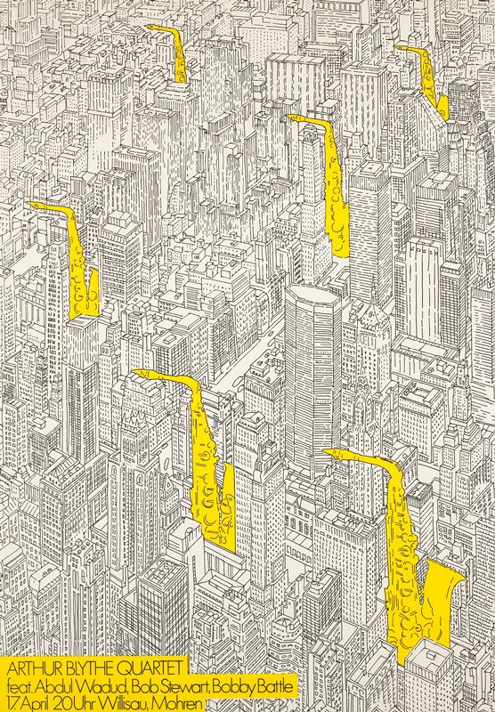 black line drawing of downtown area with skyscrapers with yellow saxophones; black metal frame