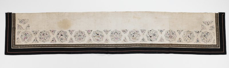 "eleven scalloped octagons with delicately embroidered pictograms on off-white long narrow panel; octagons separated by two embroidered triangles; banded on three sides by 2-1/2"" black band and 1-1/4"" brown tape; top is selvedge; some embroidery is silk thread; embroidery colors: blue, pink, black"