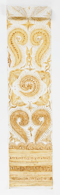 long panel of light brown batik waxed fabric; 2 ornate circles near one border; fanciful fauna; geometric borders. Surface ornamentation