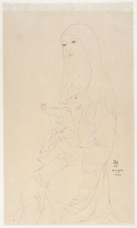 Line drawing of a veiled woman holding an infant on her lap