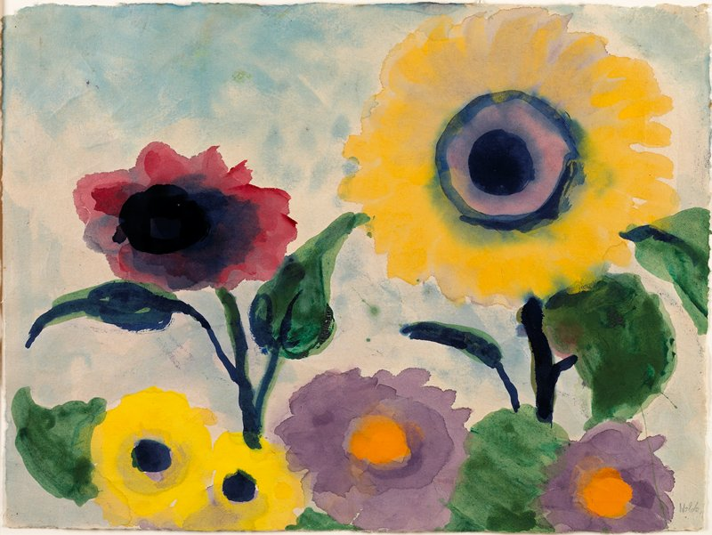 yellow, red, blue, purple and orange flowers against a blue ground
