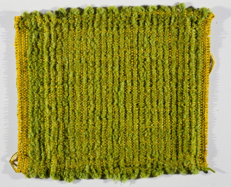 wool warp, wool/wool chenille filler, lime, yellow; mounted on masonite with staples or tacks