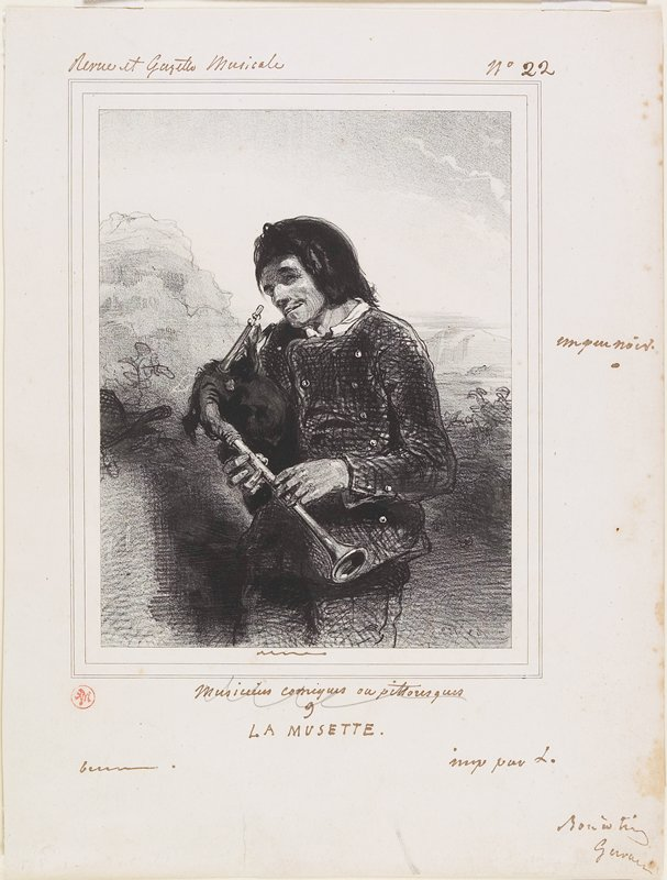 man with bushy hair, head tilted to the side, holding a bagpipe; mountains in background