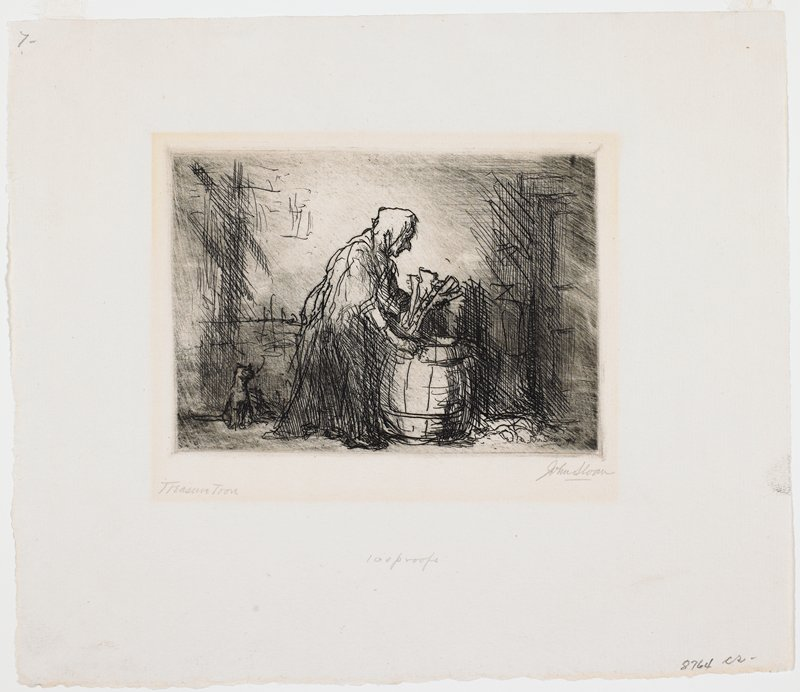 woman at wooden barrel holding object in PL hand; small cat seated behind her