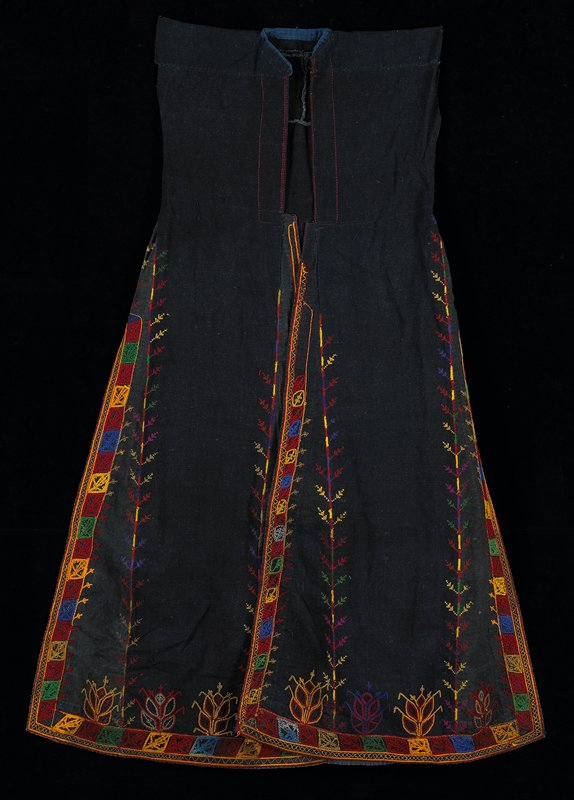 sleeveless vest robe; handwoven; indigo dyed; cotton cloth with colored silk embroidery--gold, dark red, green, blue, yellow; flared style with long wide side vents; left front overlap