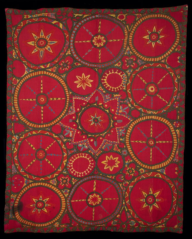 Newly lined. Red. Circle motifs. Large circles surround smaller ones. Green leaf border. All on red embroidered ground. Six vertical panels embroidered, then joined. Newer tan lining.