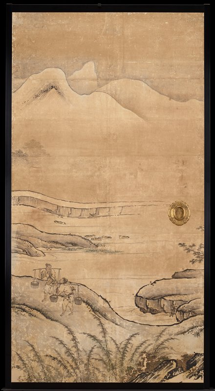 unsigned; from the Saga Palace, Kyoto; two figures walking, wearing yokes; mountains in background