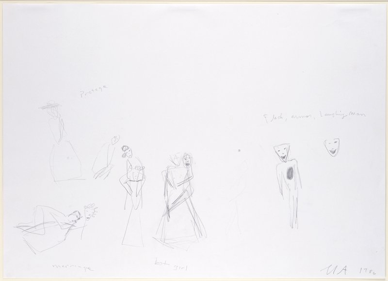 Series of quick sketches--mostly figures--accompanied by written titles for the published prints (See Inscriptions)