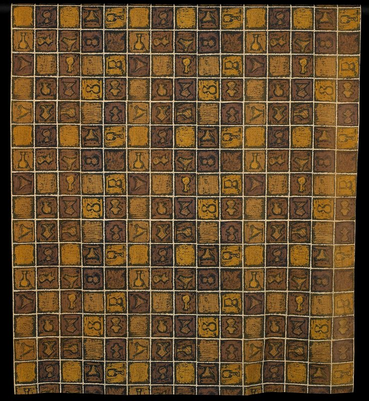 shades of brown and gold with black printed on white; grid design with squares of crosshatching and squares containing vessel-like shapes