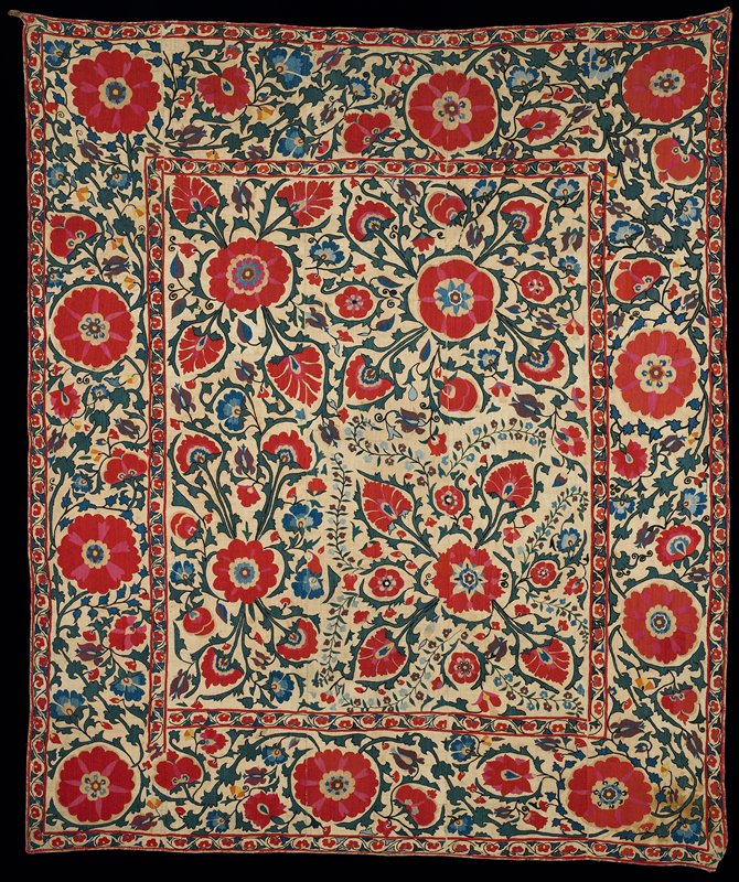 five tan cotton ground embroidered panels sewn together; on center, rectangle with borders on all four sides; motifs embroidered with red, pink, green, blue, yellow and orange silk are large and small flowers and foliage