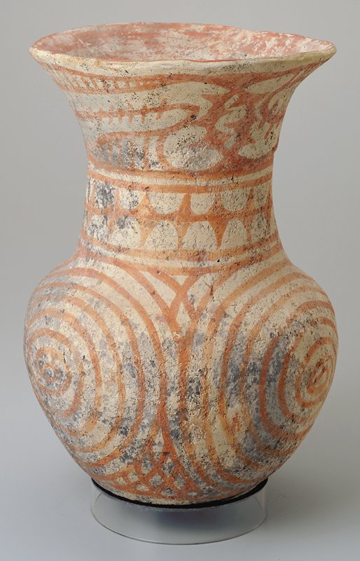 Jar with rounded bottom and slightly flaring shoulder; short neck with wide, flaring mouth; geometric and organic designs painted in red; Ban Chieng ware