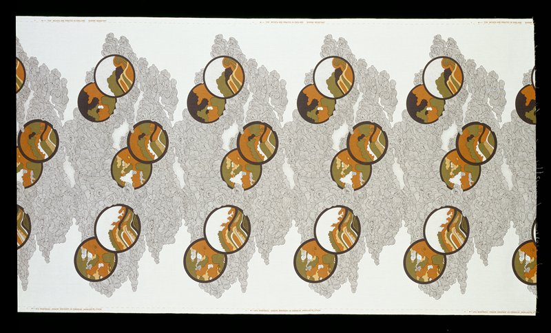 Bkg. black and white overlapping swirls on white; six repeats; three pairs circles with different designs (snails, trees, hills, landscapes) with colors black, green, brown, beige, white