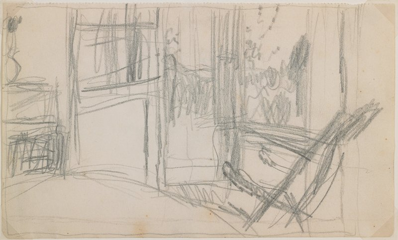 rough sketch; chair and doorway with landscape beyond; door at L