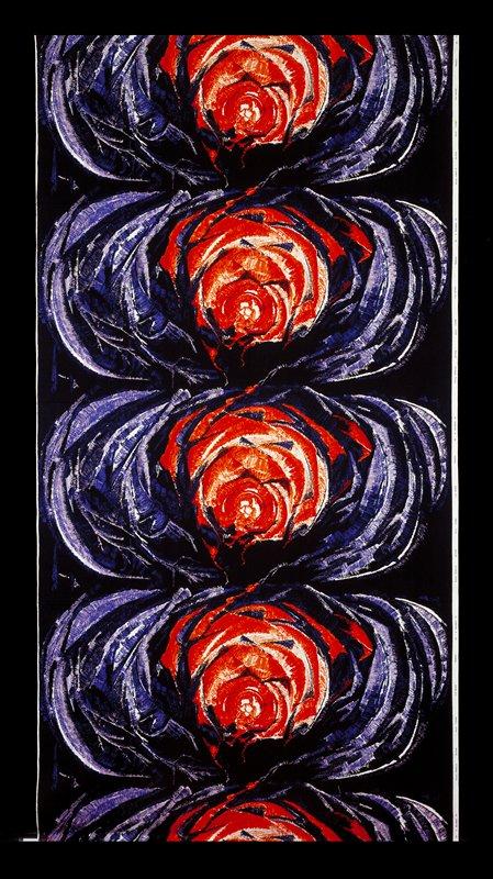 Flower pattern red, orange, purple, white, black in the center and dark blue, blue, lavender, white around