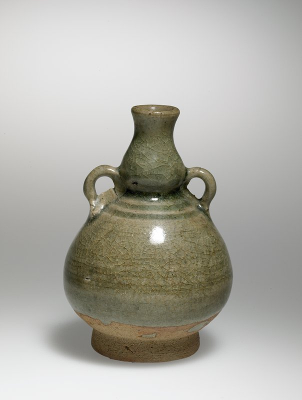 small two-handled vessel on ring foot; rounded body; long neck, bulbous at bottom; green glaze; two rings around body below neck