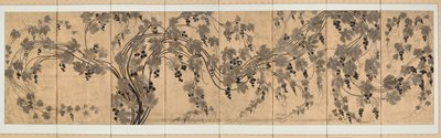 eight-fold screen; unsigned; black and grey grapevine image framed by white and gold fabric background